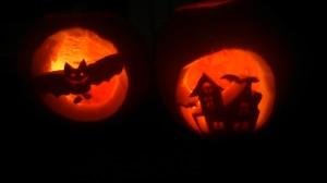 Halloween Pumpkins 2013, a bat & a haunted house